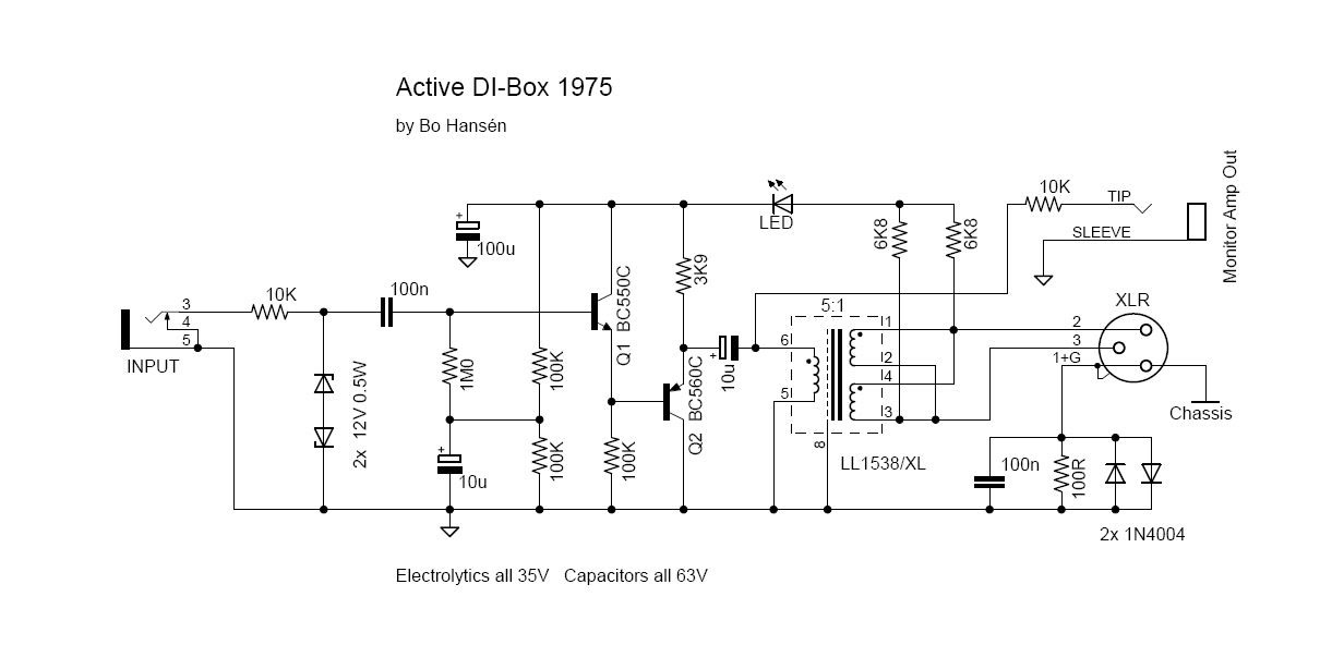 di box schematic esp direct injection box for recording and pa systems. Black Bedroom Furniture Sets. Home Design Ideas